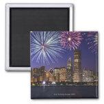 Fireworks over Chicago skyline 2 Inch Square Magnet