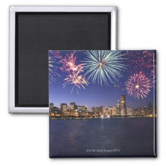 Fireworks over Chicago skyline 2 Fridge Magnet