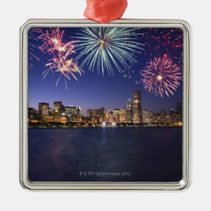 fireworks over chicago skyline 2 metal ornament - Chicago Christmas Ornament