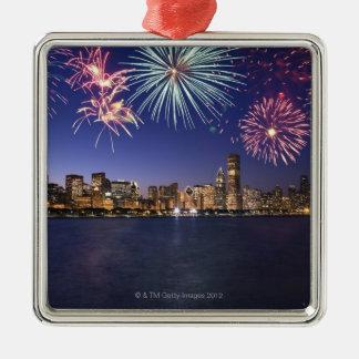 Fireworks over Chicago skyline 2 Metal Ornament