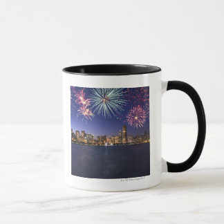 Fireworks over Chicago skyline 2 Mug