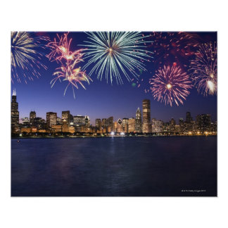Fireworks over Chicago skyline 2 Poster
