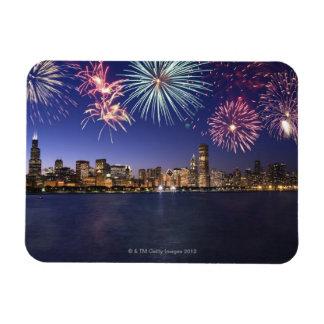 Fireworks over Chicago skyline 2 Vinyl Magnets