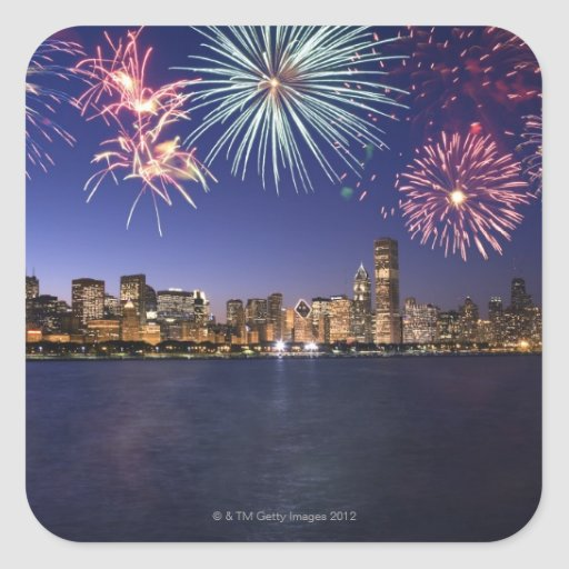 Fireworks over Chicago skyline 2 Square Sticker