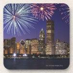 Fireworks over Chicago skyline Beverage Coaster