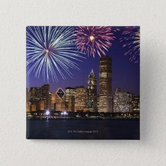 Fireworks over Chicago skyline Button