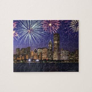 Fireworks over Chicago skyline Jigsaw Puzzle