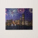 Fireworks over Chicago skyline Jigsaw Puzzles