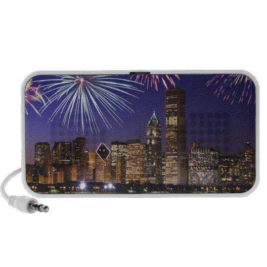 Fireworks over Chicago skyline Mini Speaker