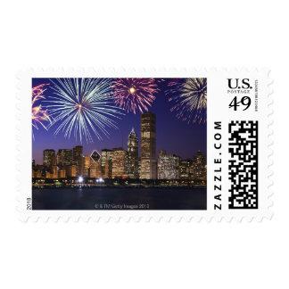 Fireworks over Chicago skyline Postage