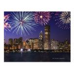 Fireworks over Chicago skyline Postcard