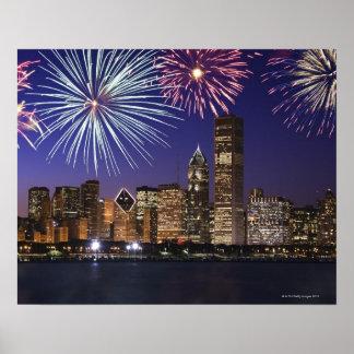 Fireworks over Chicago skyline Poster