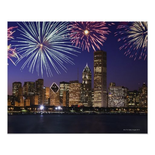 Fireworks over Chicago skyline Posters