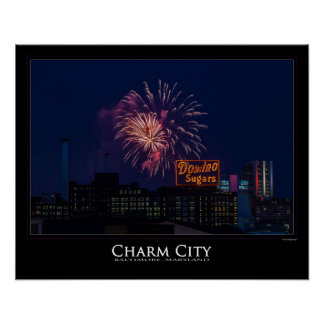 Fireworks over Domino Sugar in Baltimore Poster