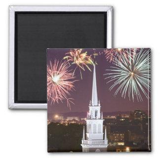 Fireworks over downtown Boston landmark Magnet