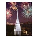 Fireworks over downtown Boston landmark Postcard