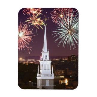 Fireworks over downtown Boston landmark Rectangular Magnet