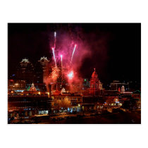 Fireworks over Kansas City Plaza Lights Postcard