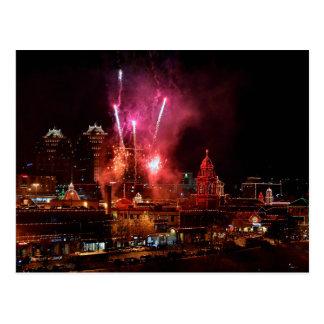 Fireworks over Kansas City Plaza Lights Postcard