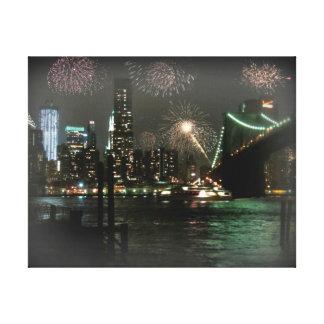 Fireworks over New York City Canvas Print