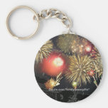 Fireworks over Parked Cars Key Chains