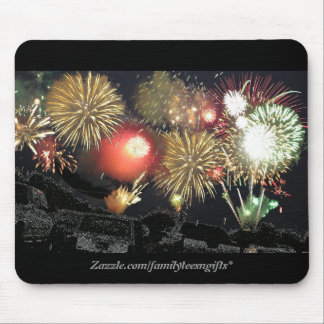 Fireworks over Parked Cars Mouse Pad