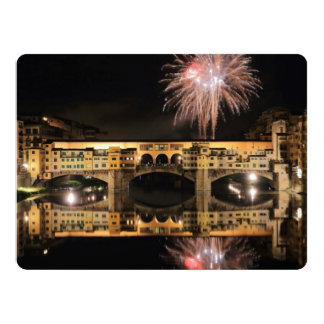 Fireworks over Ponte Vecchio in Florence Italy Card