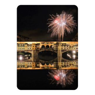 Fireworks over Ponte Vecchio in Florence Italy Personalized Invite