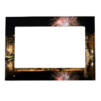 Fireworks over Ponte Vecchio in Florence Italy Magnetic Frame