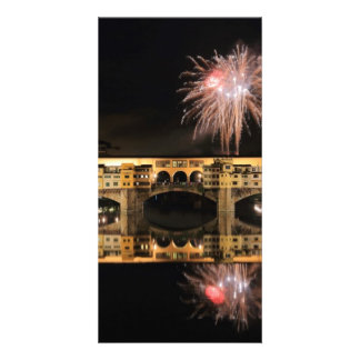 Fireworks over Ponte Vecchio in Florence Italy Photo Card