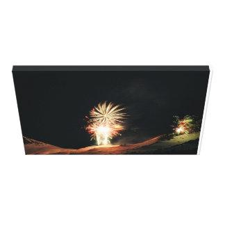 Fireworks over snow mtn canvas print