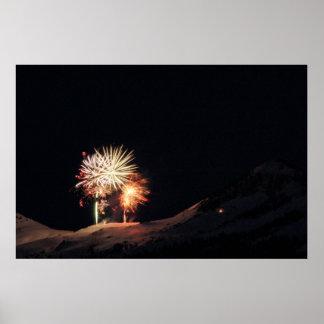 Fireworks over snow mtn poster