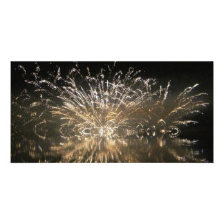 Fireworks over the water card