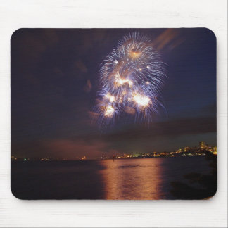 Fireworks over water mouse pad