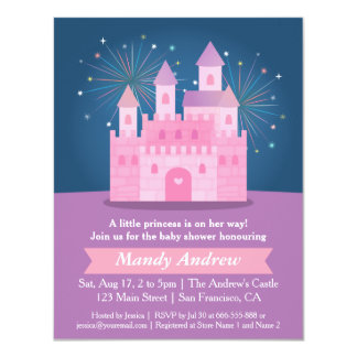 Fireworks Princess Castle Baby Girl Shower Party 4.25x5.5 Paper Invitation Card