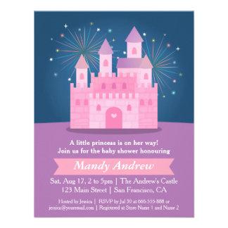 Fireworks Princess Castle Baby Girl Shower Party Custom Invites