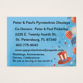 Fireworks Pyrotechnics Business Card