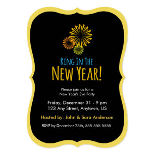 fireworks ring in the new year party invitation