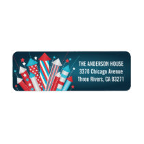 Fireworks Rockets 4th of July Address Labels