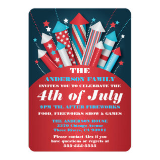 Fireworks Rockets 4th Of July Party Invitations at Zazzle