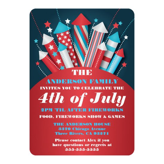 Fireworks Rockets 4th of July Party Invitations