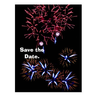 Fireworks Save The Date Postcard