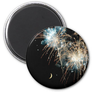 Fireworks Shower the Moon 2 Inch Round Magnet