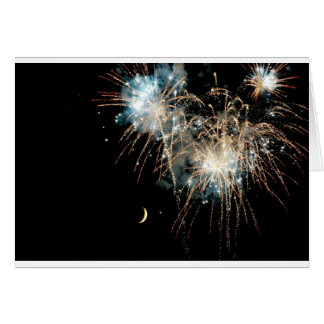 Fireworks Shower the Moon Card
