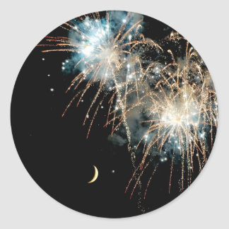 Fireworks Shower the Moon Classic Round Sticker