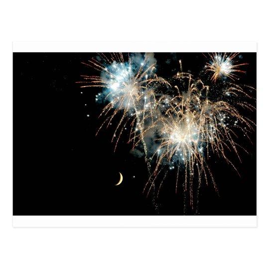 Fireworks Shower the Moon Postcard