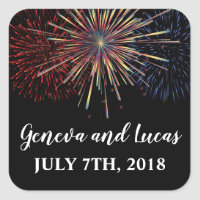 Fireworks Sky Fourth of July Colorful Wedding Square Sticker
