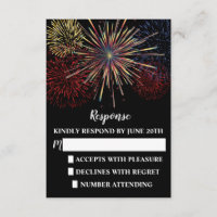 Fireworks Sky Fourth of July Wedding Response/RSVP RSVP Card