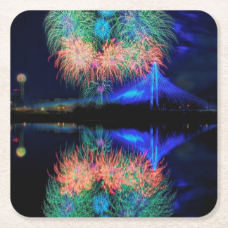 Fireworks Square Paper Coaster