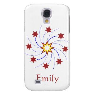 Fireworks Star Swirl - Red, Yellow, Blue on White Samsung S4 Case